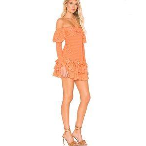 Tularosa Poppy Pale Peach Mini Dress Off Shoulder